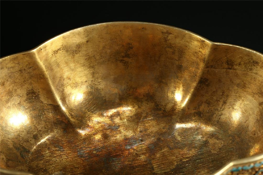 """A CHINESE GILT SILVER DOUBLE """"DRAGON"""" HANDLED BOWL - 4"""