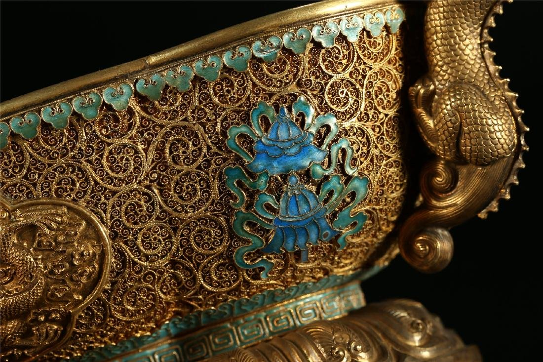 """A CHINESE GILT SILVER DOUBLE """"DRAGON"""" HANDLED BOWL - 5"""