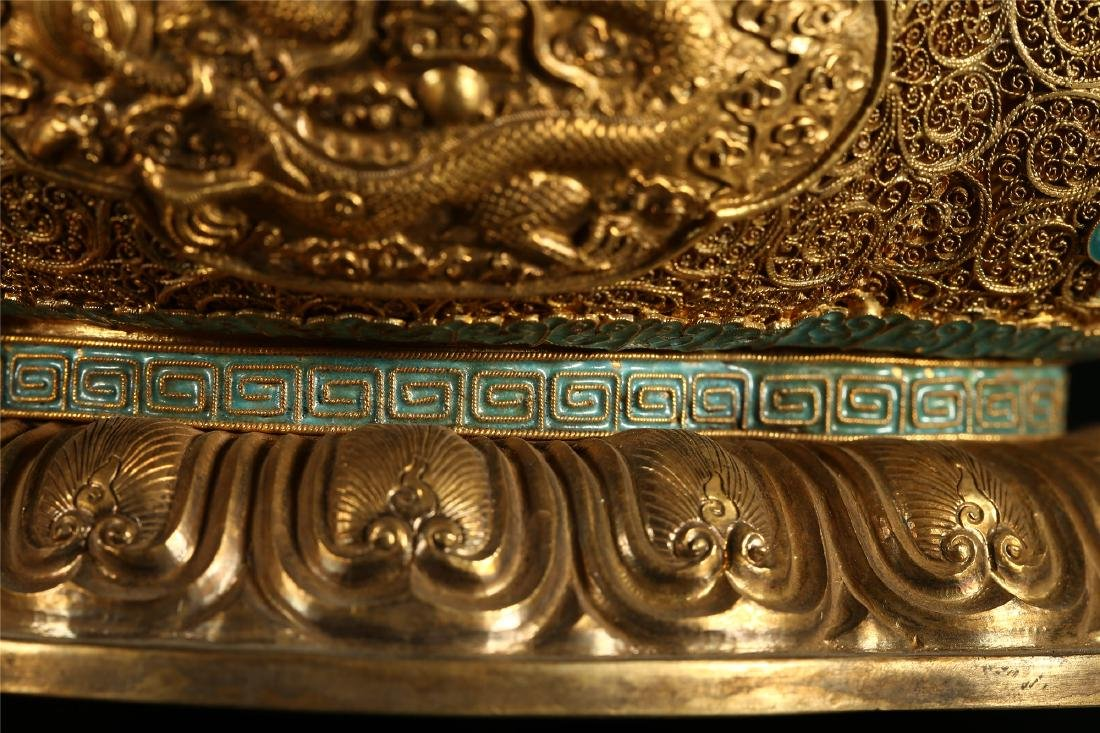 """A CHINESE GILT SILVER DOUBLE """"DRAGON"""" HANDLED BOWL - 6"""