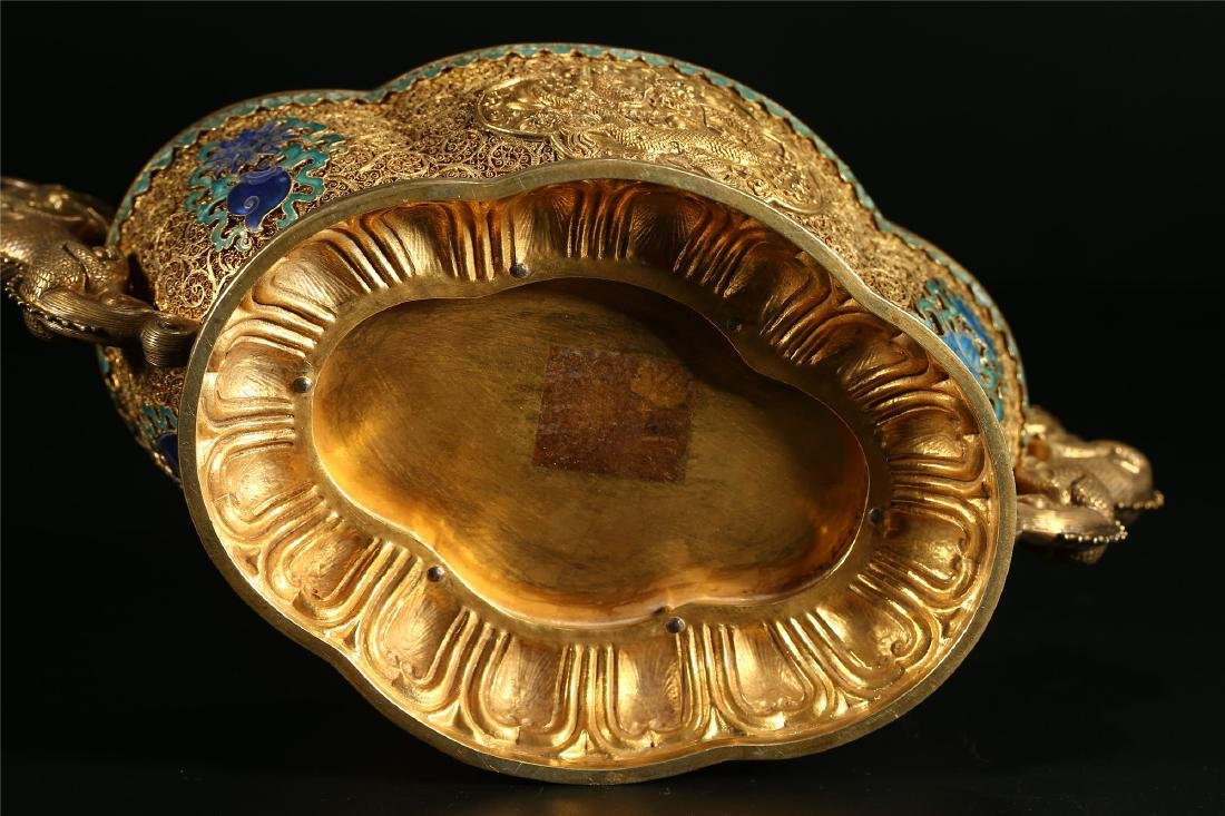 """A CHINESE GILT SILVER DOUBLE """"DRAGON"""" HANDLED BOWL - 7"""