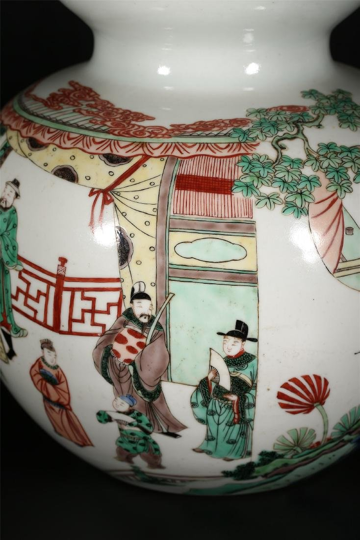 A CHINESE POLYCHROME PORCELAIN DOUBLE GOURD VASE - 6