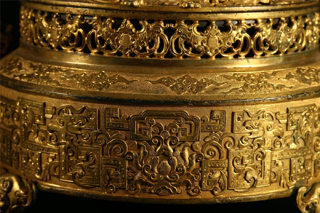 "A CHINESE GILT BRONZE ""DRAGON & PHOENIX"" CENSER AND - 2"