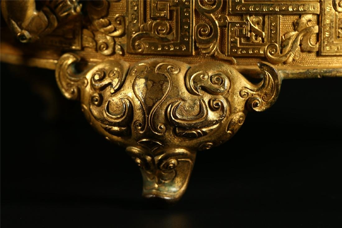 "A CHINESE GILT BRONZE ""DRAGON & PHOENIX"" CENSER AND - 4"