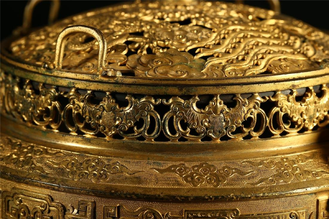 "A CHINESE GILT BRONZE ""DRAGON & PHOENIX"" CENSER AND - 6"