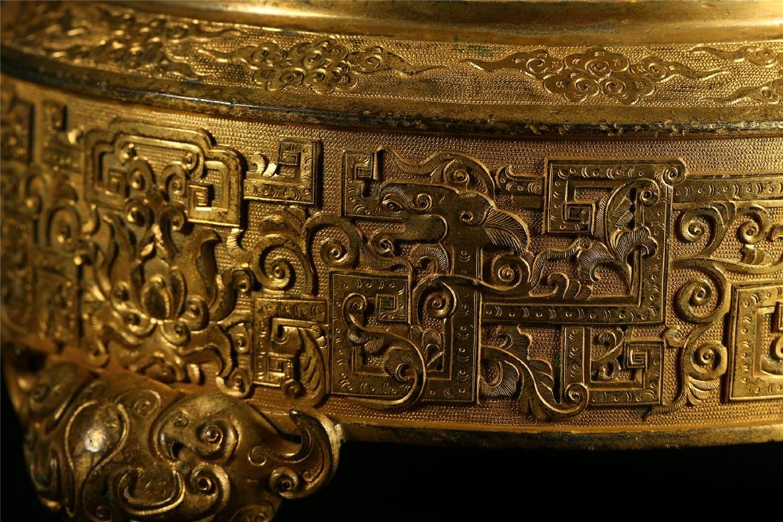 "A CHINESE GILT BRONZE ""DRAGON & PHOENIX"" CENSER AND - 7"