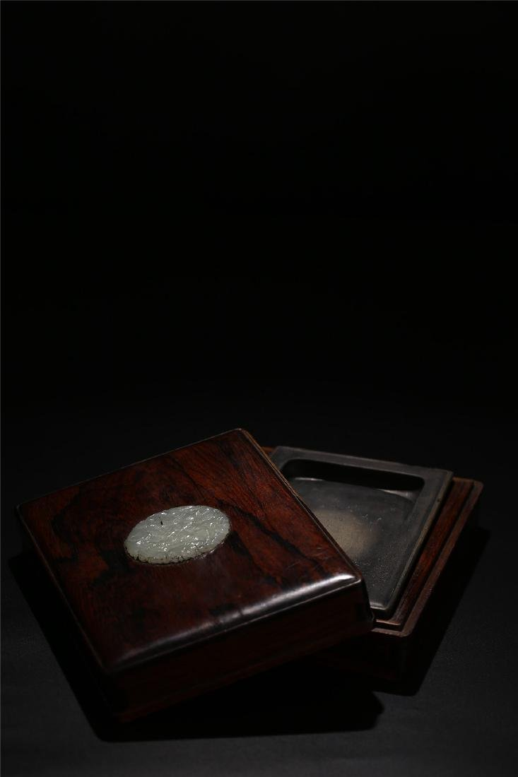 A CHINESE DUAN INK STONE AND JADE MOUNTED BOX