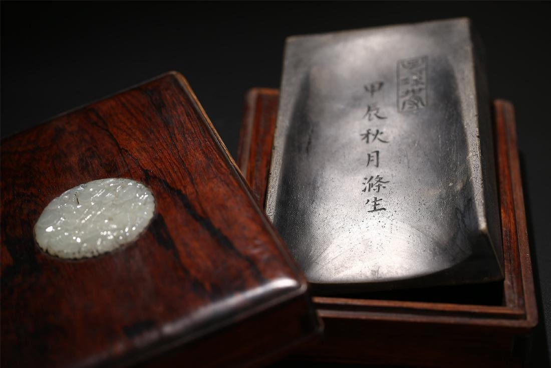 A CHINESE DUAN INK STONE AND JADE MOUNTED BOX - 6