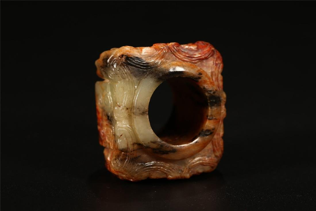 "A CHINESE ARCHAISTIC JADE ""TAOTIE"" CONG TUBE - 4"