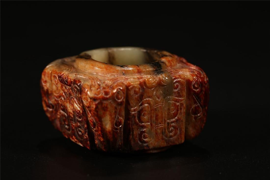 "A CHINESE ARCHAISTIC JADE ""TAOTIE"" CONG TUBE - 5"