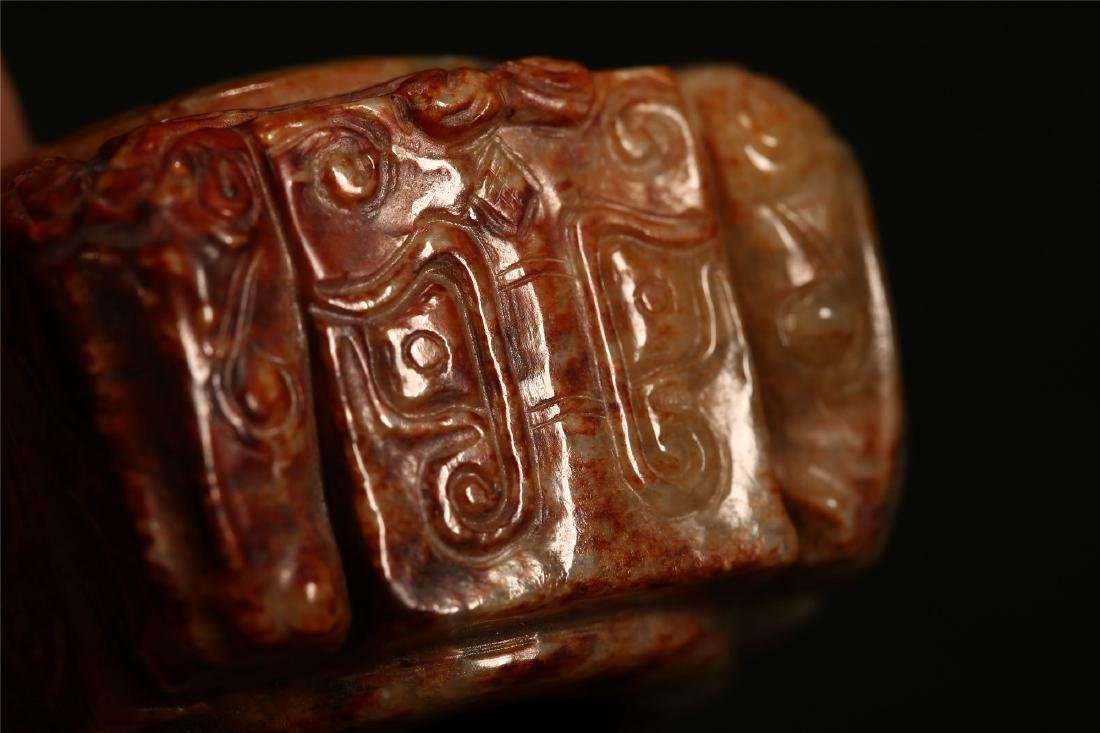 "A CHINESE ARCHAISTIC JADE ""TAOTIE"" CONG TUBE - 6"
