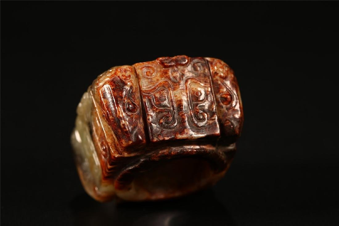 "A CHINESE ARCHAISTIC JADE ""TAOTIE"" CONG TUBE - 7"