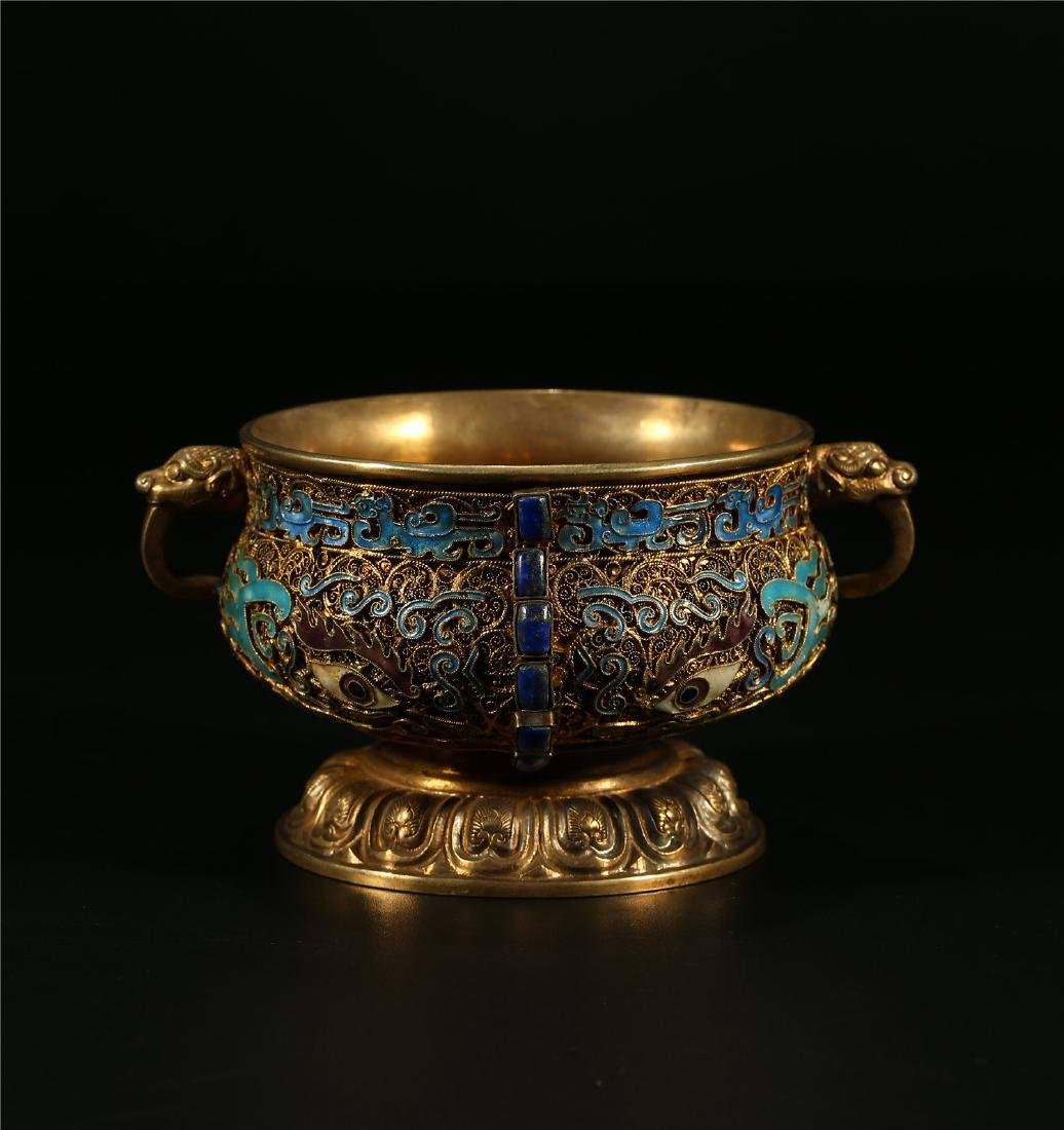 """A CHINESE GILT SILVER AND ENAMEL """"TAOTIE"""" CENSER"""