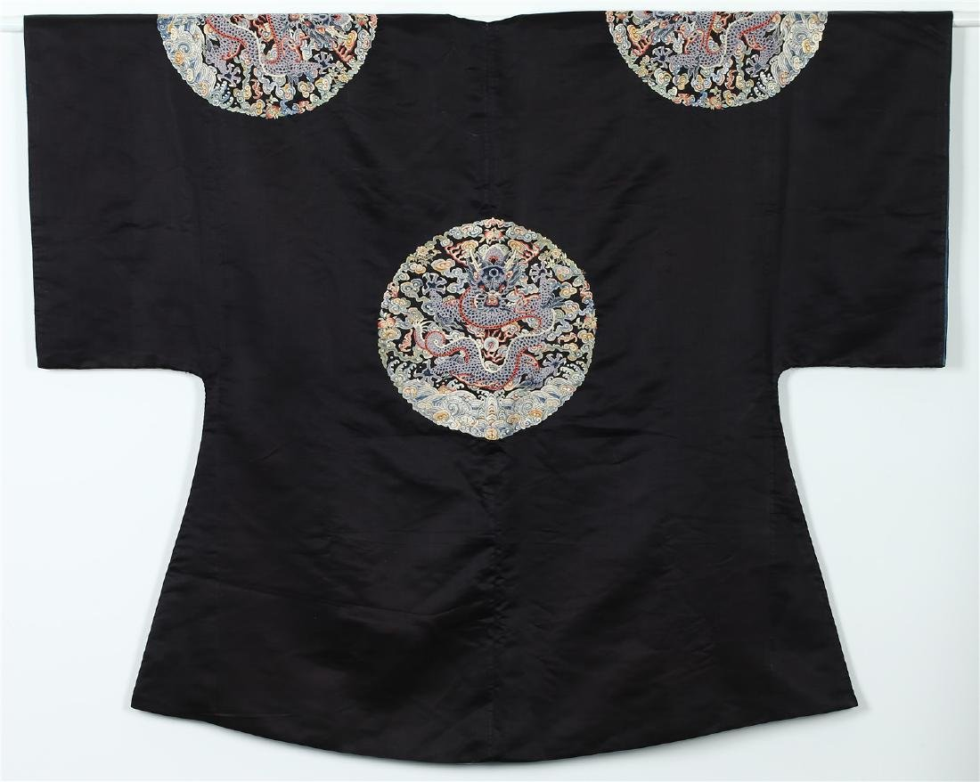 "A CHINESE SILK ""DRAGON ROUNDEL"" SURCOAT - 6"