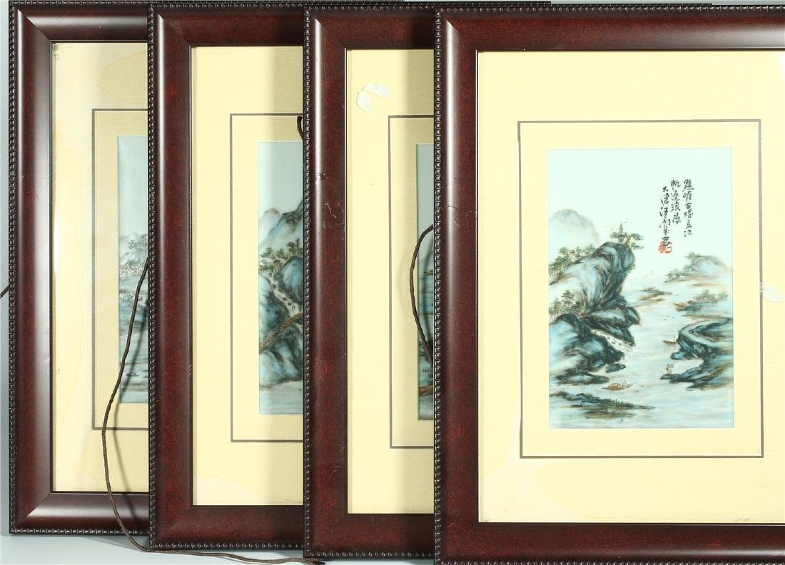 FOUR CHINESE FRAMED FAMILLE ROSE PORCELAIN PLAQUES
