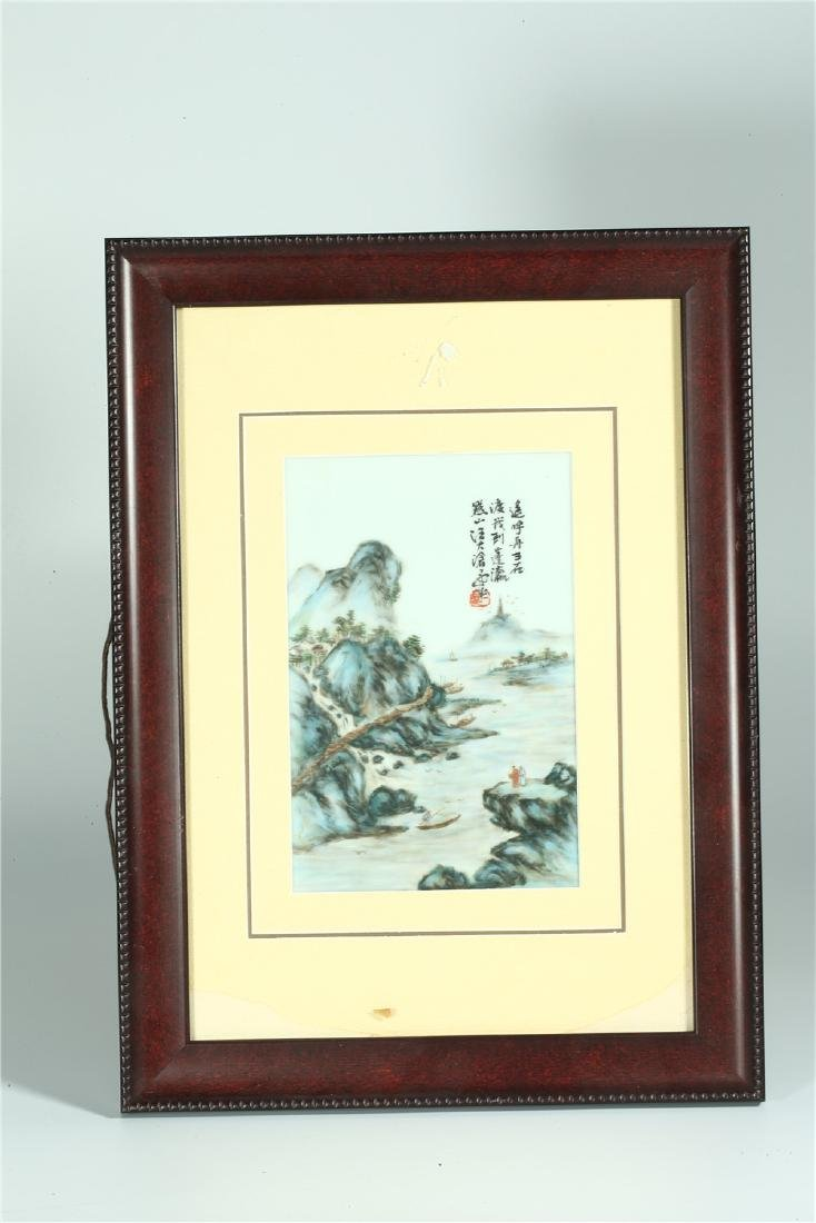 FOUR CHINESE FRAMED FAMILLE ROSE PORCELAIN PLAQUES - 2