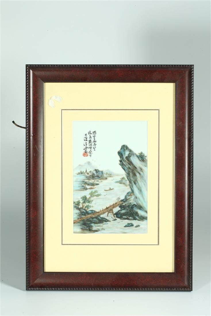FOUR CHINESE FRAMED FAMILLE ROSE PORCELAIN PLAQUES - 4