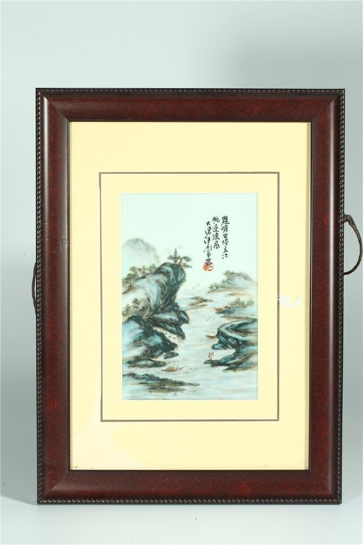 FOUR CHINESE FRAMED FAMILLE ROSE PORCELAIN PLAQUES - 6
