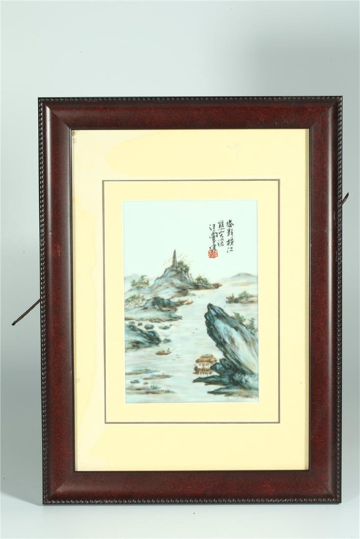 FOUR CHINESE FRAMED FAMILLE ROSE PORCELAIN PLAQUES - 8