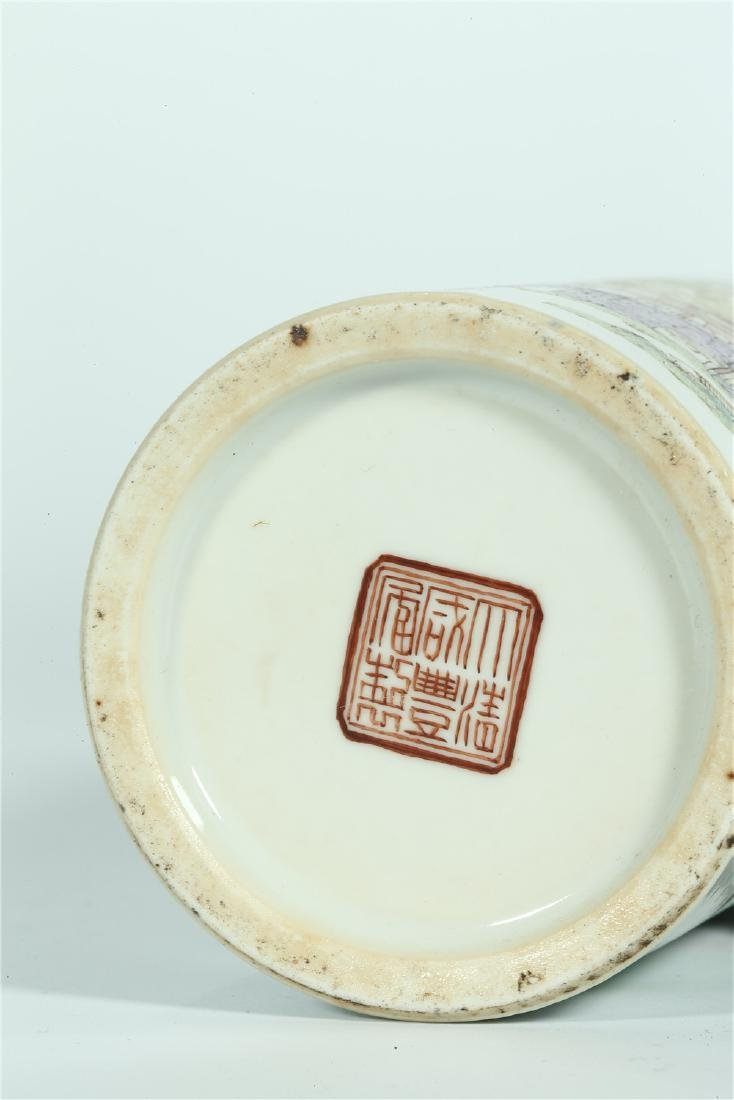 A CHINESE FAMILLE ROSE PORCELAIN BRUSH POT - 10