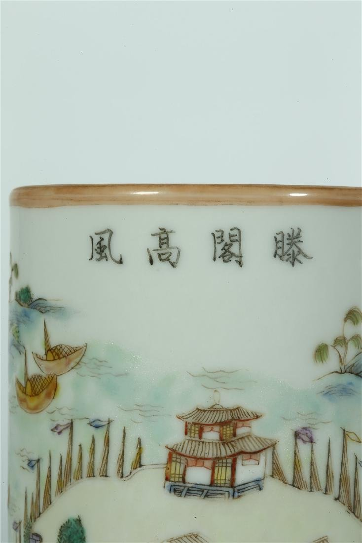 A CHINESE FAMILLE ROSE PORCELAIN BRUSH POT - 3