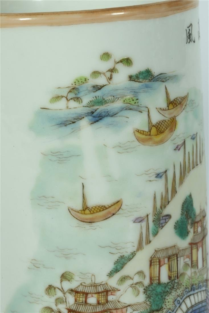 A CHINESE FAMILLE ROSE PORCELAIN BRUSH POT - 5