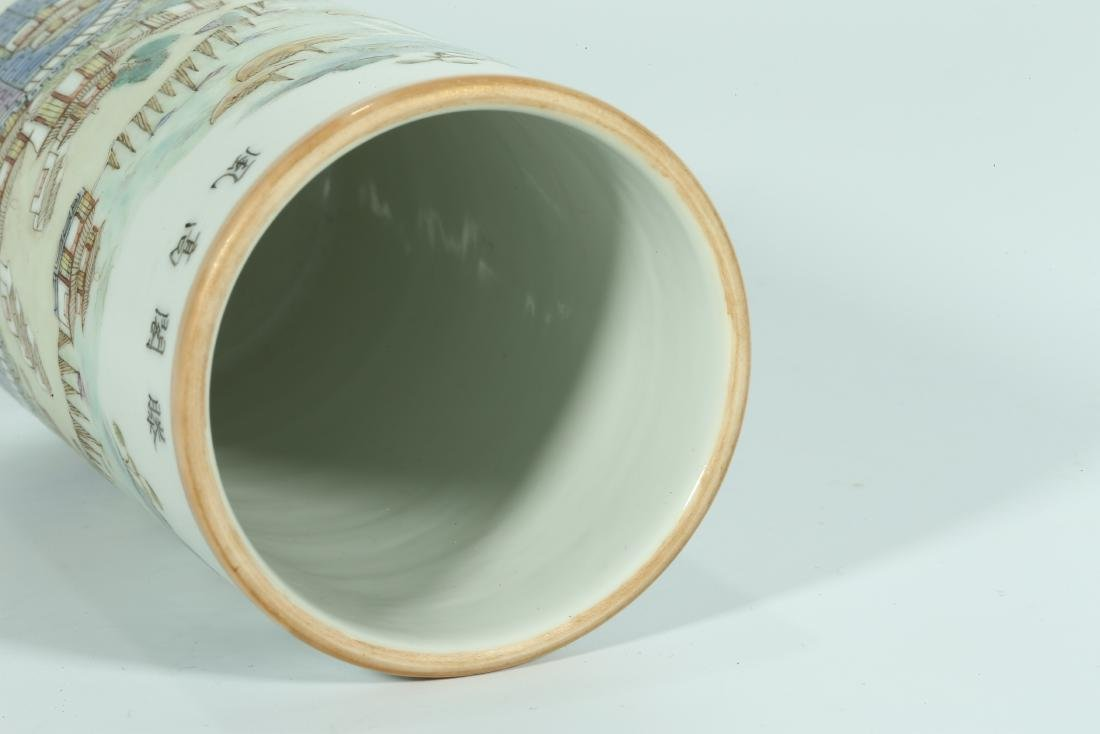 A CHINESE FAMILLE ROSE PORCELAIN BRUSH POT - 8