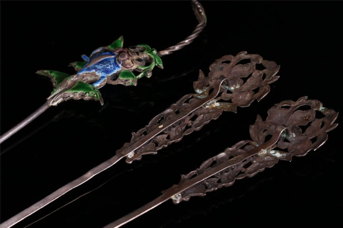THREE CHINESE SILVER HAIR PINS - 4