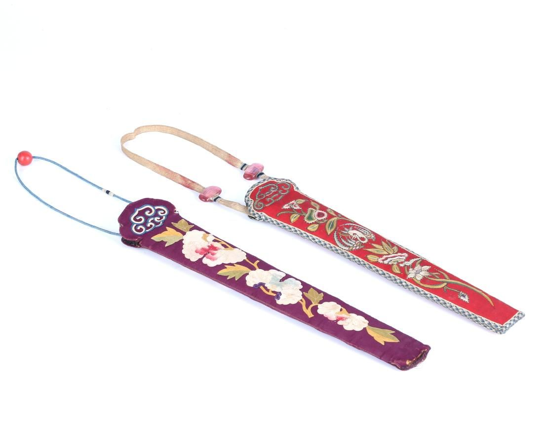 TWO CHINESE EMBROIDERED SILK FAN CASES