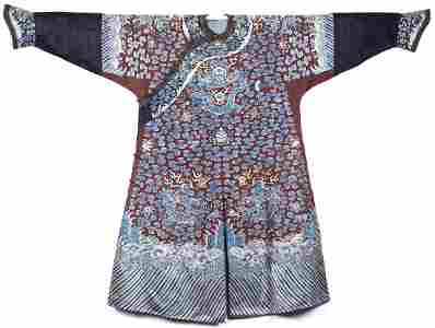A CHINESE EMBROIDERED SILK IMPERIAL DRAGON ROBE