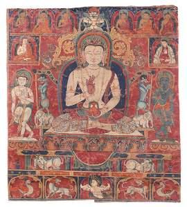 A TIBETAN THANGKA OF BUDDHA