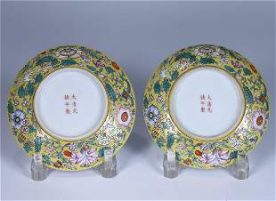 A PAIR OF YELLOW GROUND FAMILLE ROSE PORCELAIN DISHES