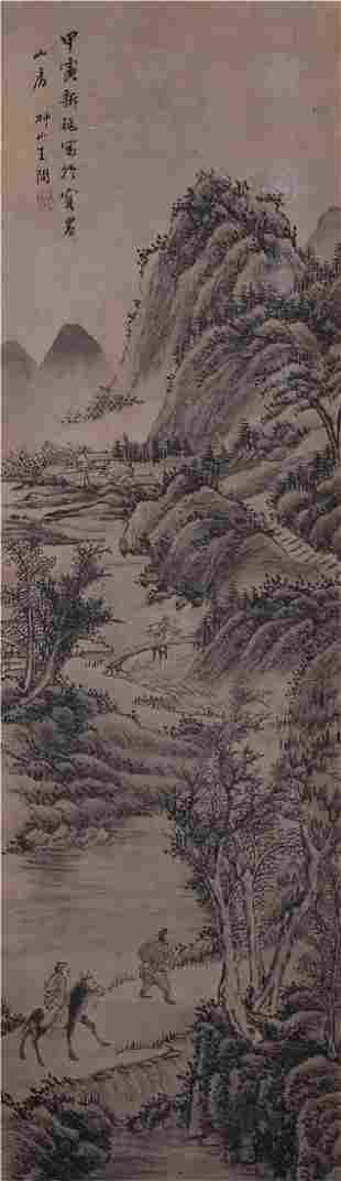 CHINESE PAINTING ATTRIBUTED TO WANG WEN FIGURES IN