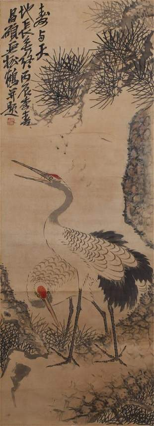CHINESE PAINTING ATTRIBUTED TO WU CHANGSHUO CRANE AND