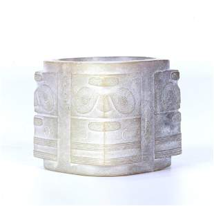 A CHINESE ARCHAISTIC JADE TAOTIE CONG TUBE