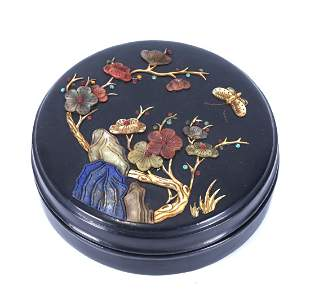 A CHINESE PRECIOUS STONE INLAID BLACK LACQUER BOX AND