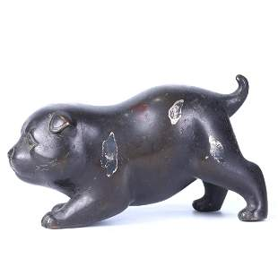A CHINESE SILVER INLAID BRONZE DOG