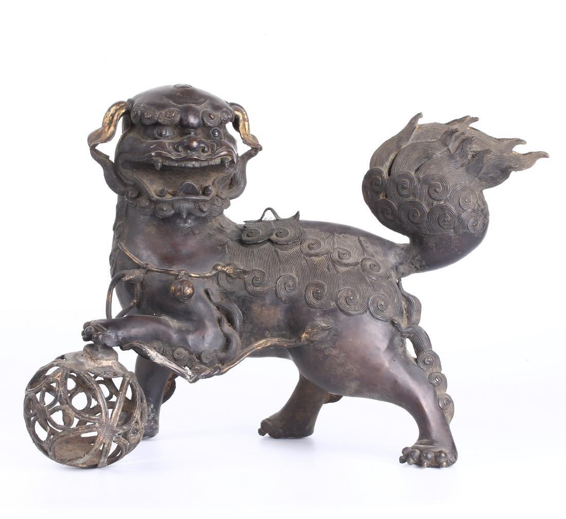 "CHINESE BRONZE ""FU DOG"" CENSER"
