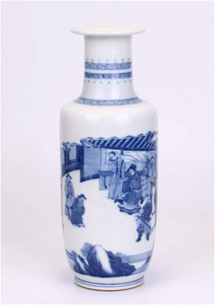 CHINESE BLUE & WHITE PORCELAIN ROULEAU VASE