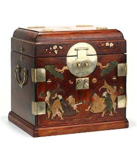 CHINESE GEMSTONE INLAID HUANGHUALI SEAL CHEST