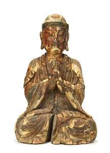 CHINESE WOOD FIGURE OF BUDDHA