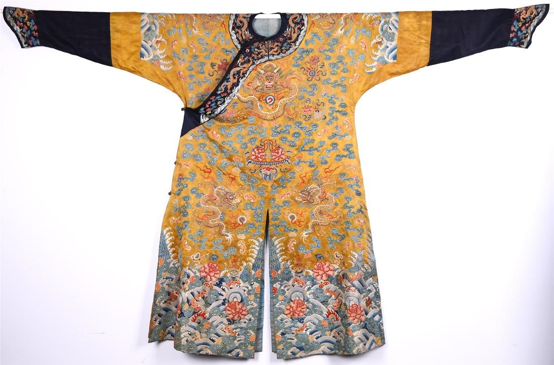 CHINESE YELLOW GROUND EMBROIDERED SILK DRAGON ROBE