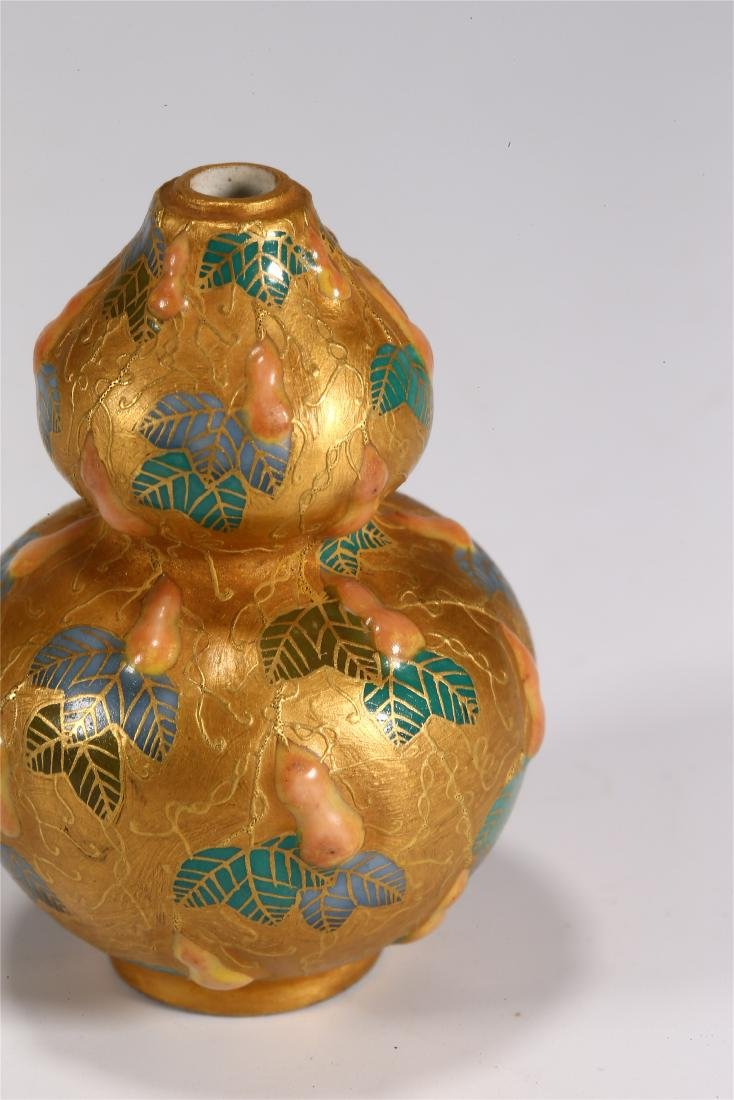 CHINESE PORCELAIN DOUBLE GOURD SNUFF BOTTLE - 2