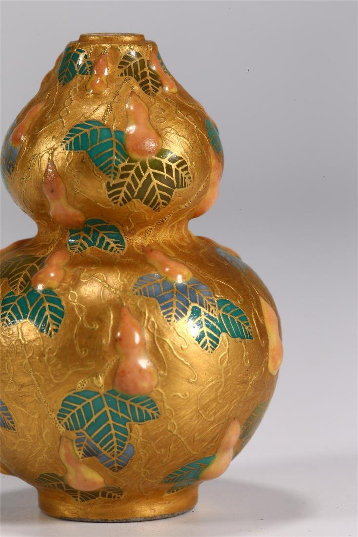 CHINESE PORCELAIN DOUBLE GOURD SNUFF BOTTLE - 3