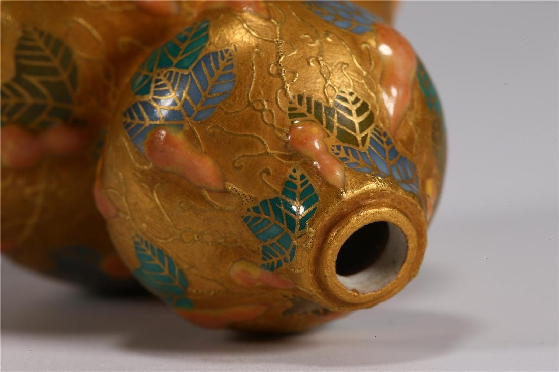 CHINESE PORCELAIN DOUBLE GOURD SNUFF BOTTLE - 5