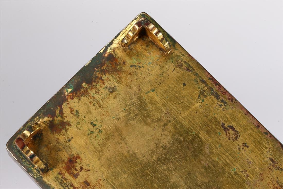 CHINESE PARCEL GILT BRONZE BOX AND COVER - 10