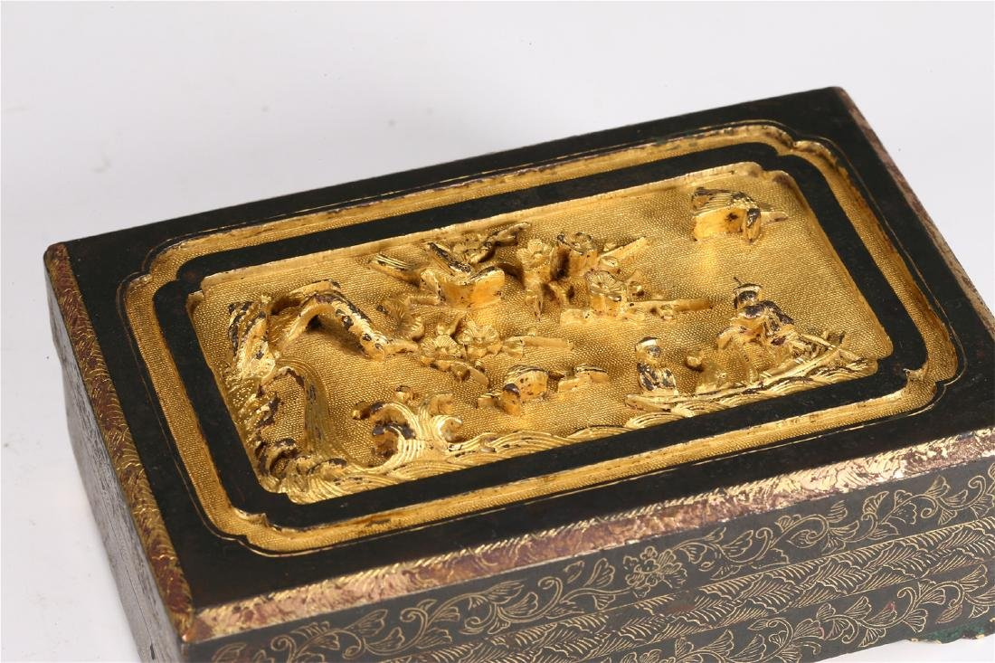 CHINESE PARCEL GILT BRONZE BOX AND COVER - 2