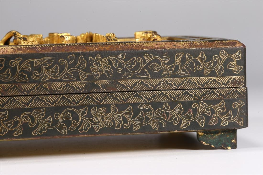 CHINESE PARCEL GILT BRONZE BOX AND COVER - 3