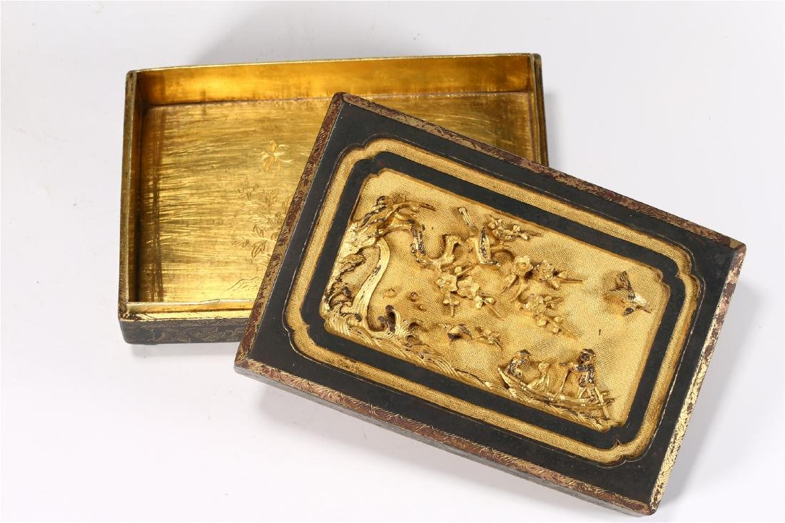 CHINESE PARCEL GILT BRONZE BOX AND COVER - 4
