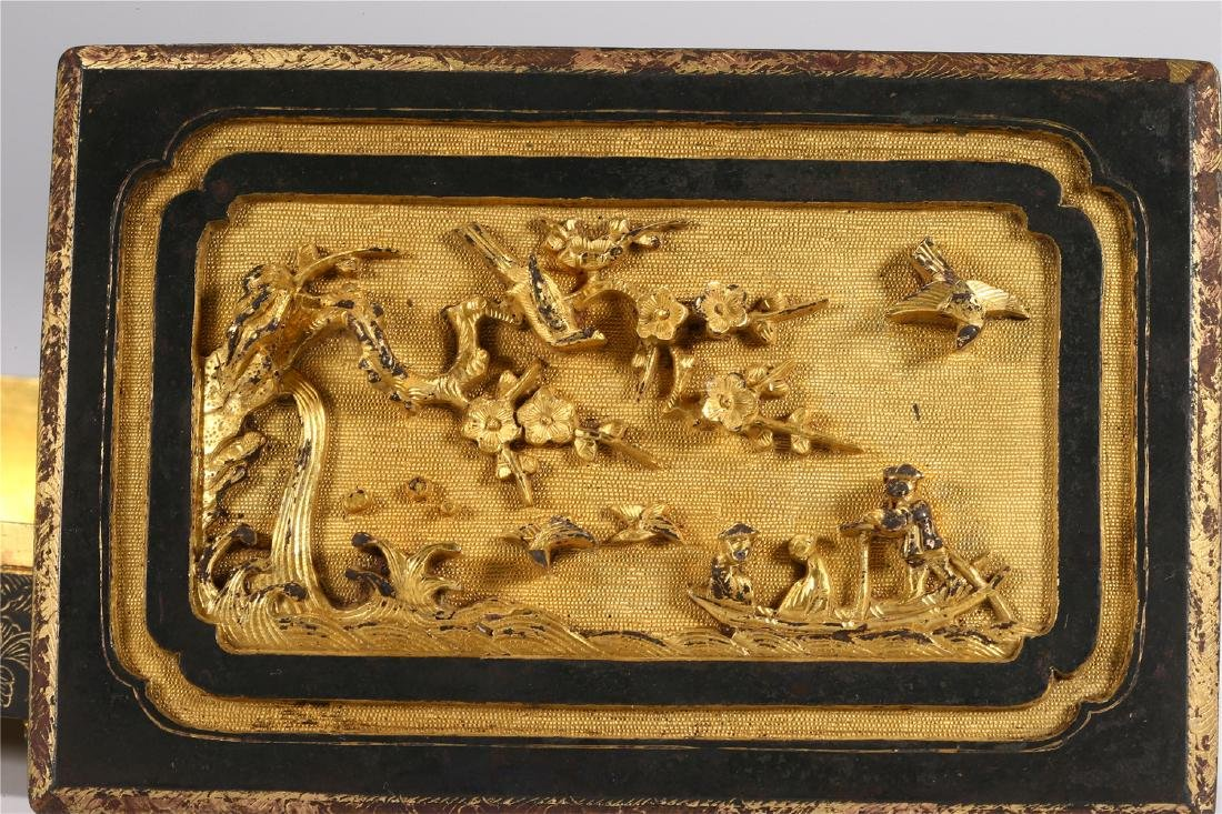 CHINESE PARCEL GILT BRONZE BOX AND COVER - 5