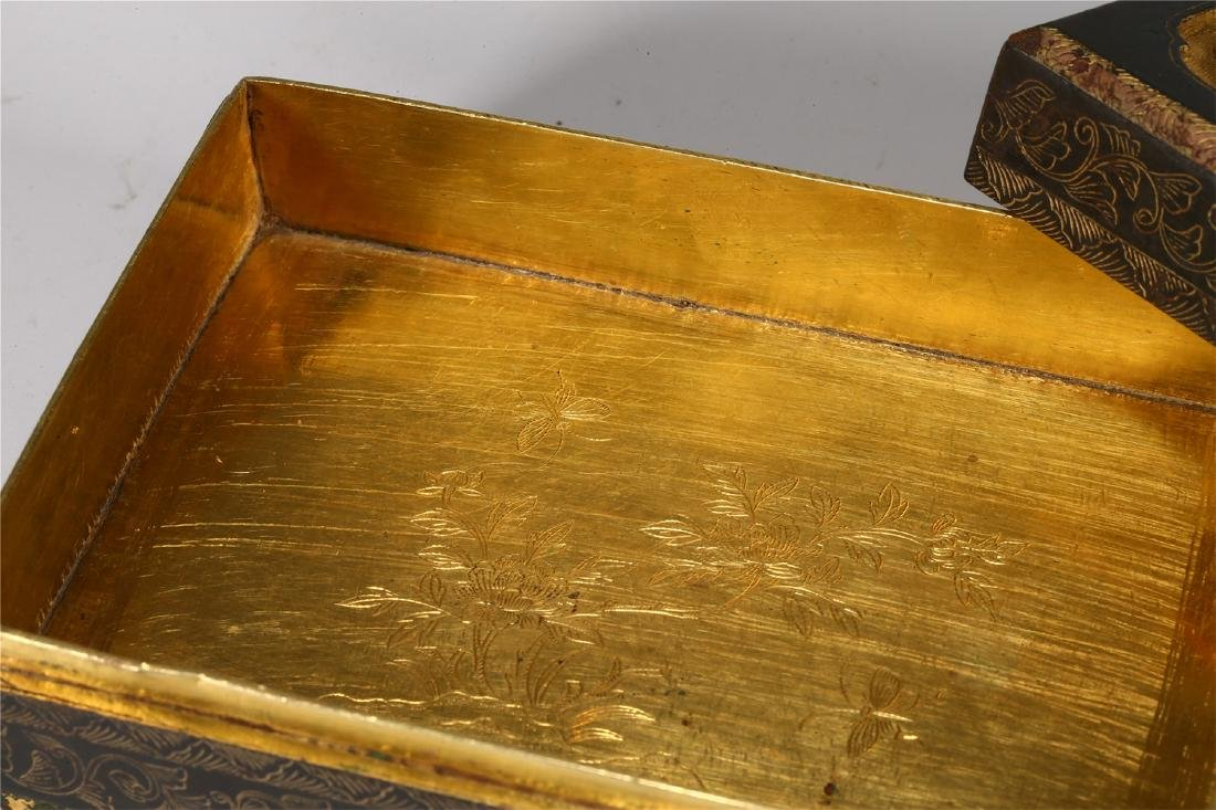 CHINESE PARCEL GILT BRONZE BOX AND COVER - 6
